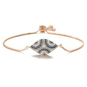 Jewelry - NWT Rose Gold Pave Blue CZ Evil Eye Bracelet